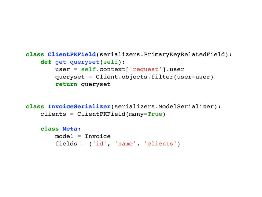 class ClientPKField(serializers.PrimaryKeyRelat...