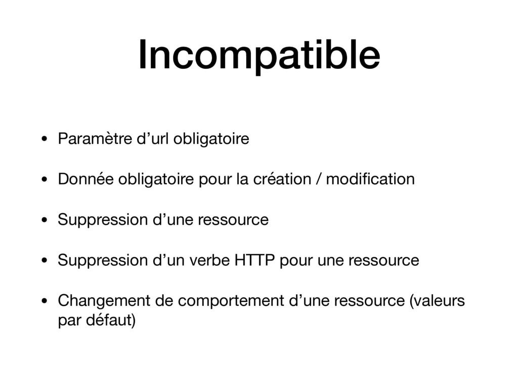 Incompatible • Paramètre d'url obligatoire  • D...