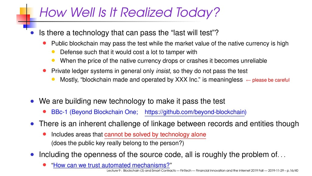 How Well Is It Realized Today? Is there a techn...