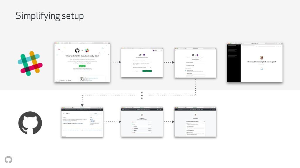 Simplifying setup • • •