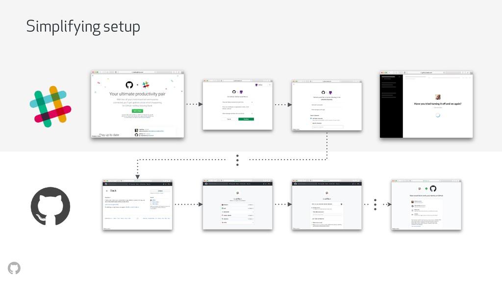 Simplifying setup • • • • • •