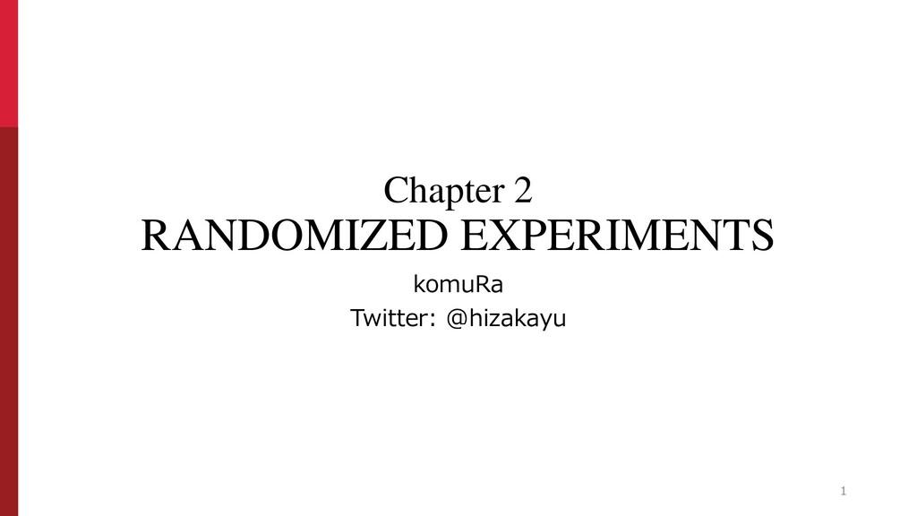 Chapter 2 RANDOMIZED EXPERIMENTS komuRa Twitter...