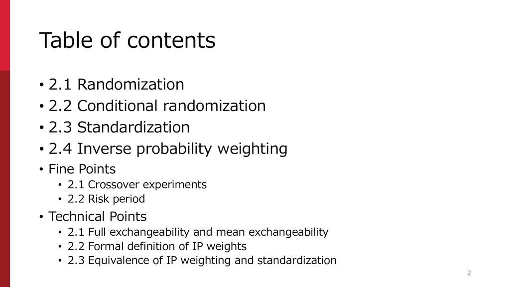 Table of contents • 2.1 Randomization • 2.2 Con...