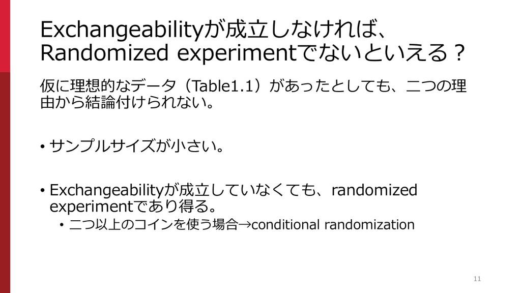 Exchangeabilityが成立しなければ、 Randomized experimentで...