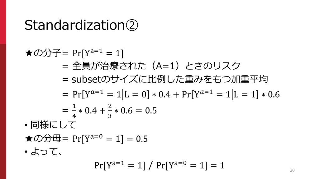 Standardization② ★の分子= Pr[Ya=1 = 1] = 全員が治療された(...