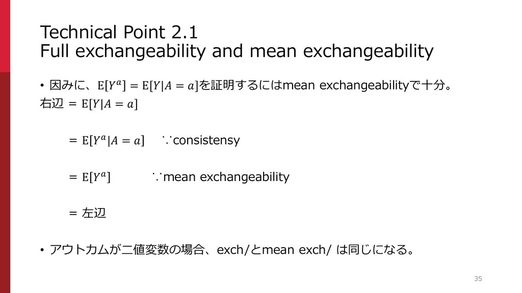 Technical Point 2.1 Full exchangeability and me...
