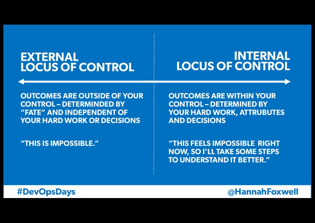 @HannahFoxwell #DevOpsDays EXTERNAL LOCUS OF CO...
