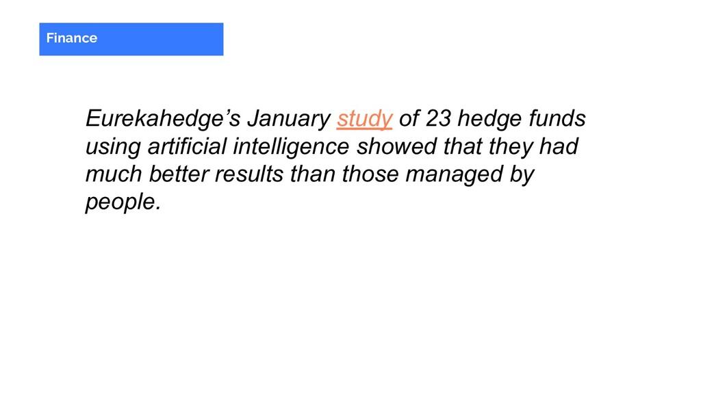 Eurekahedge's January study of 23 hedge funds u...