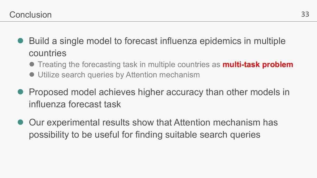 33 l Build a single model to forecast influenza...