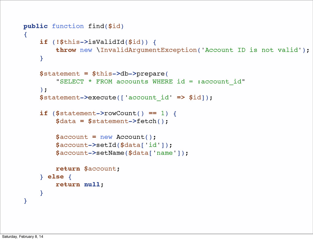 public function find($id) { if (!$this->isValid...