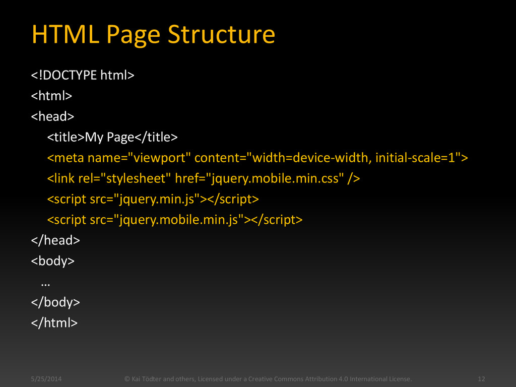 HTML Page Structure <!DOCTYPE html> <html> <hea...
