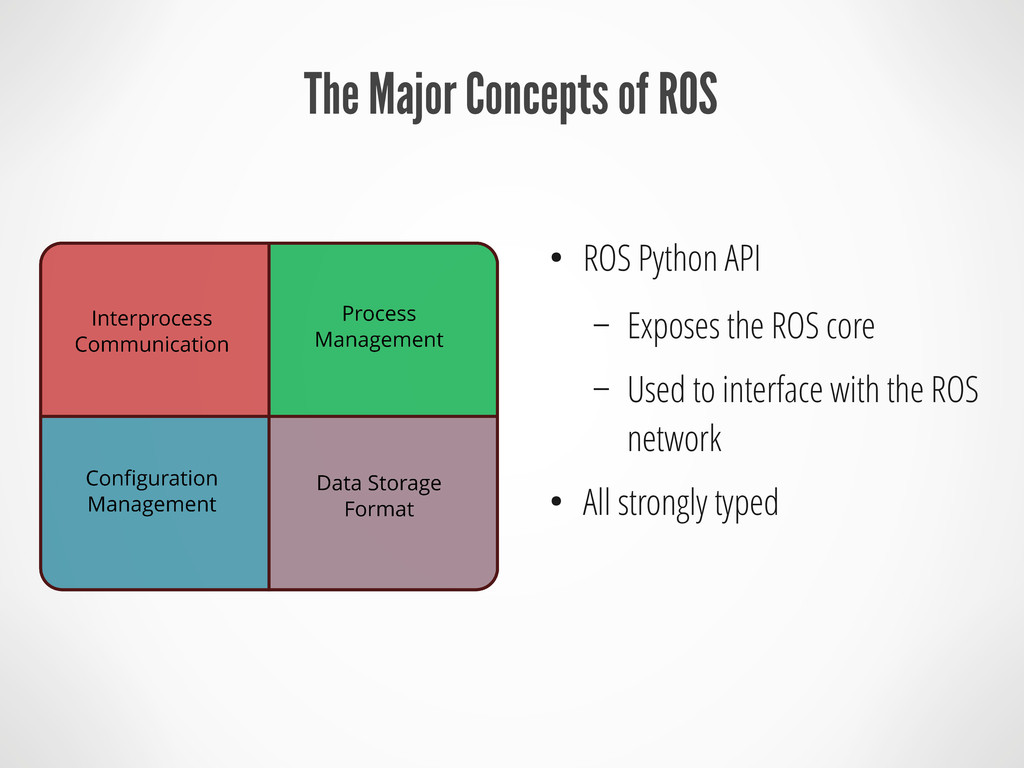 The Major Concepts of ROS ● ROS Python API – Ex...