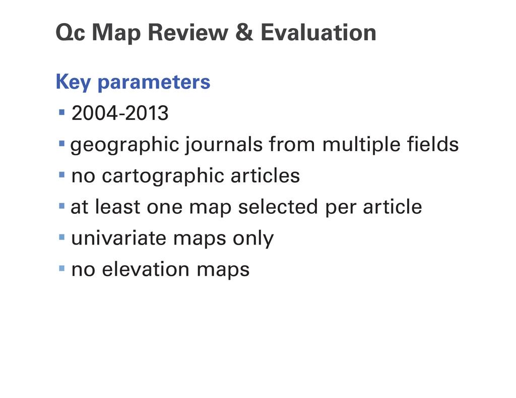 Qc Map Review & Evaluation Key parameters ∙2004...