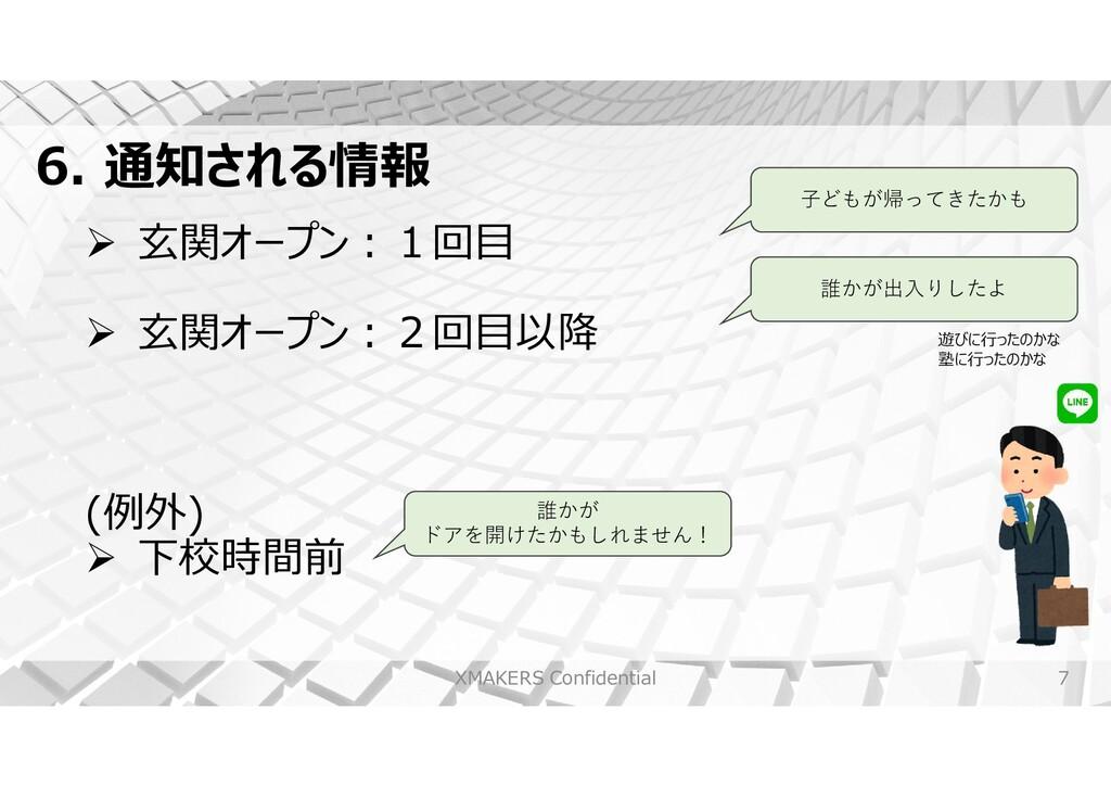 7 6. 通知される情報 XMAKERS Confidential  玄関オープン︓1回目 ...