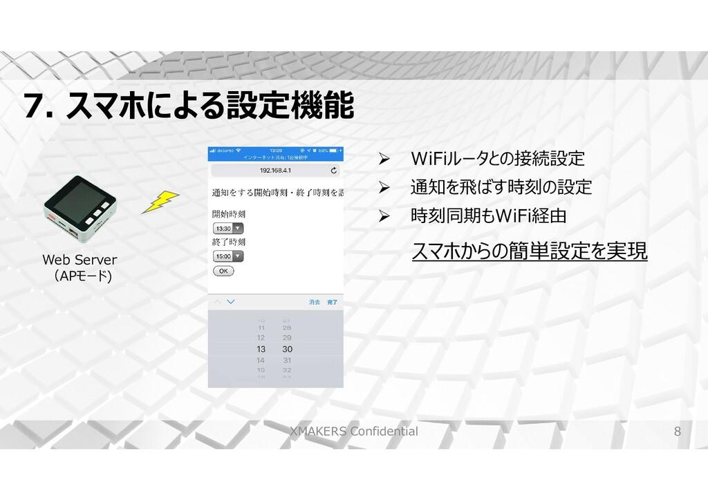 8 7. スマホによる設定機能 XMAKERS Confidential Web Server...