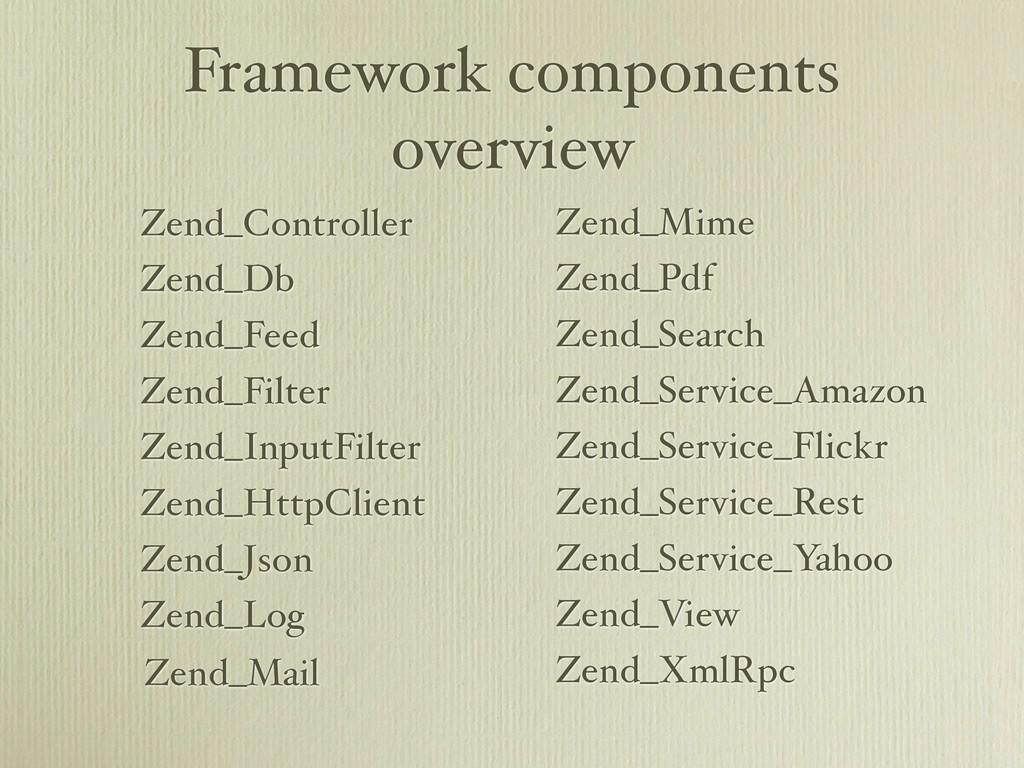 Framework components overview Zend_Controller Z...