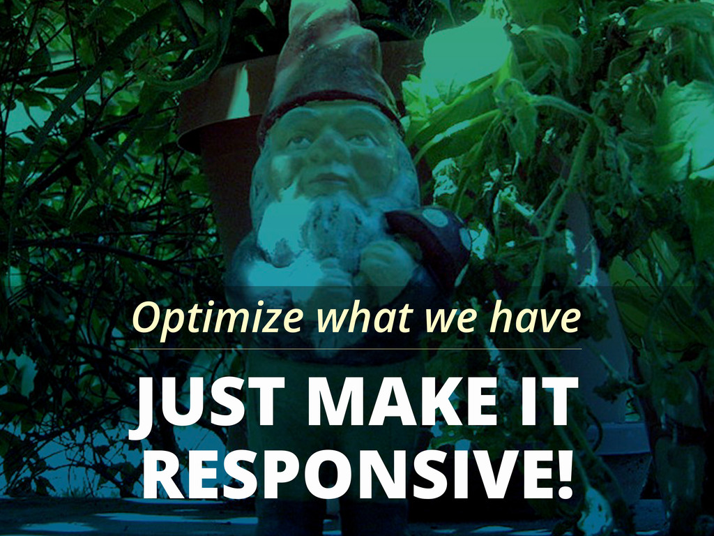 JUST MAKE IT RESPONSIVE! Optimize what we have