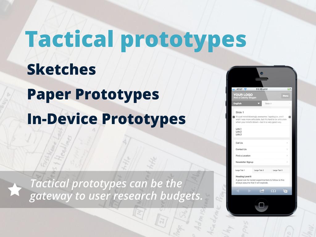 Tactical prototypes Sketches Paper Prototypes I...
