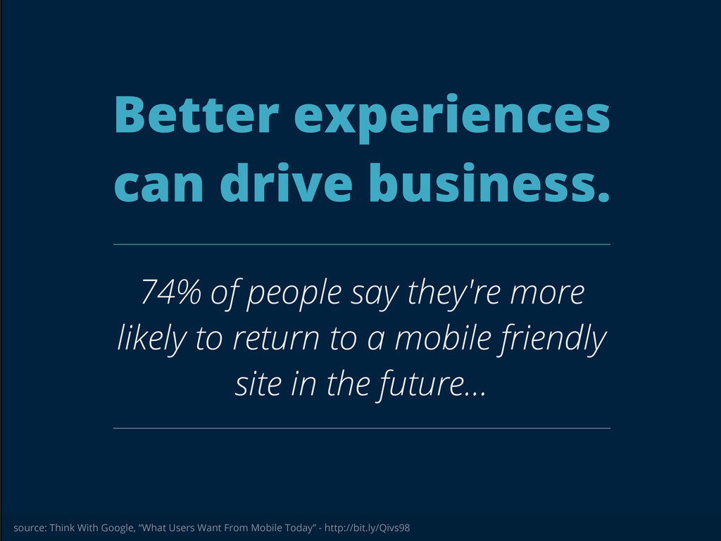 Better experiences can drive business. 74% of p...