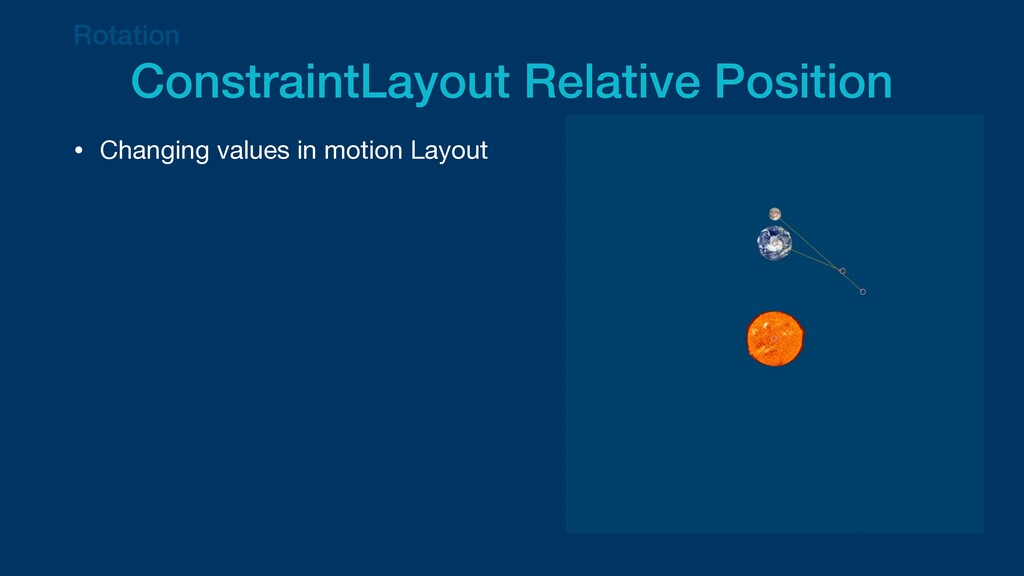 Rotation   ConstraintLayout Relative Position •...