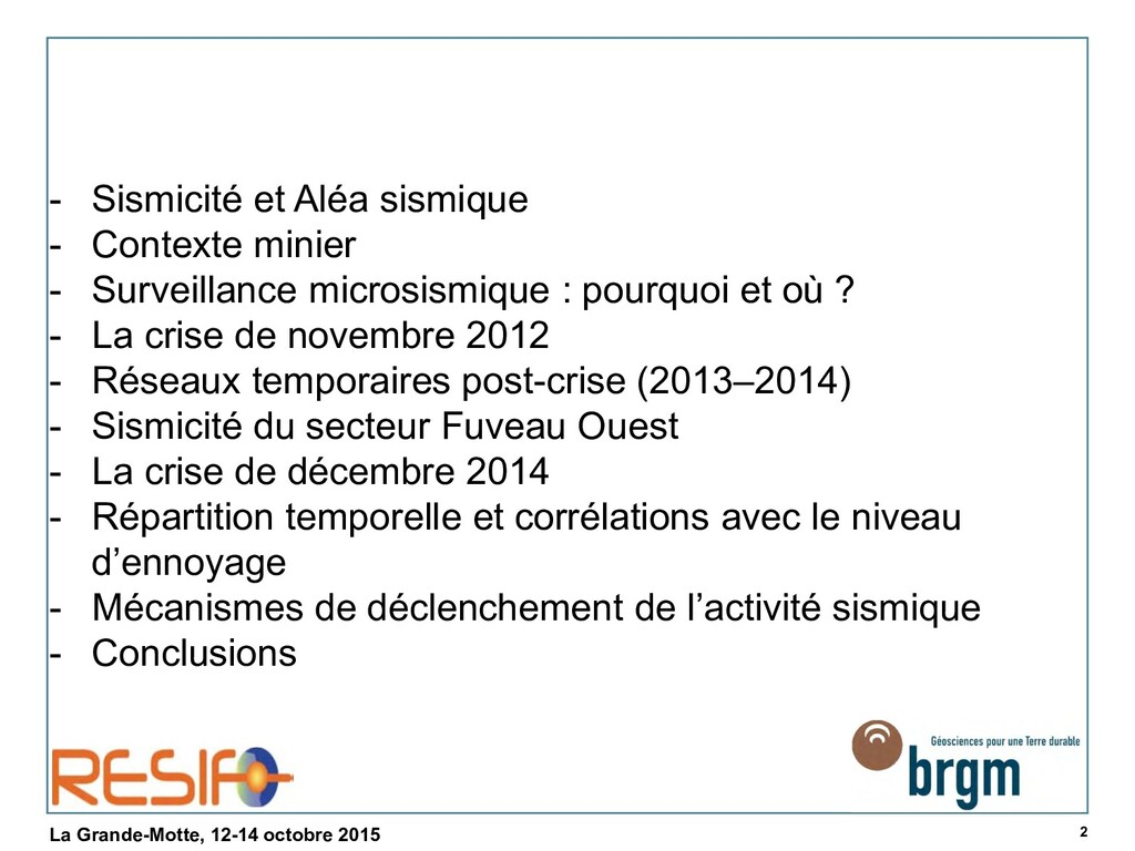 2 La Grande-Motte, 12-14 octobre 2015 - Sismici...