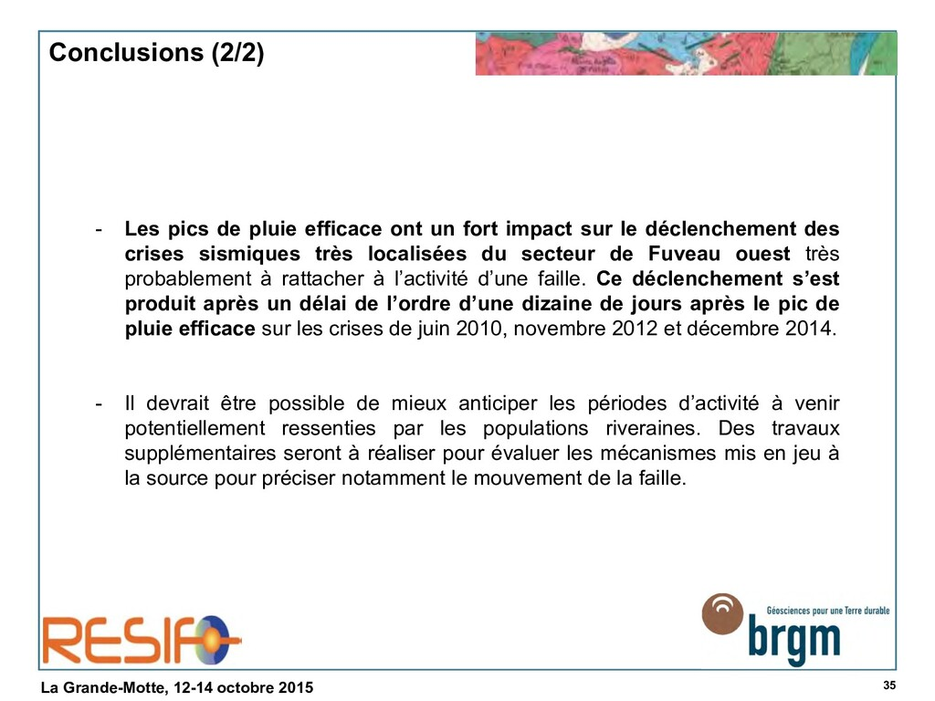 35 La Grande-Motte, 12-14 octobre 2015 Conclusi...