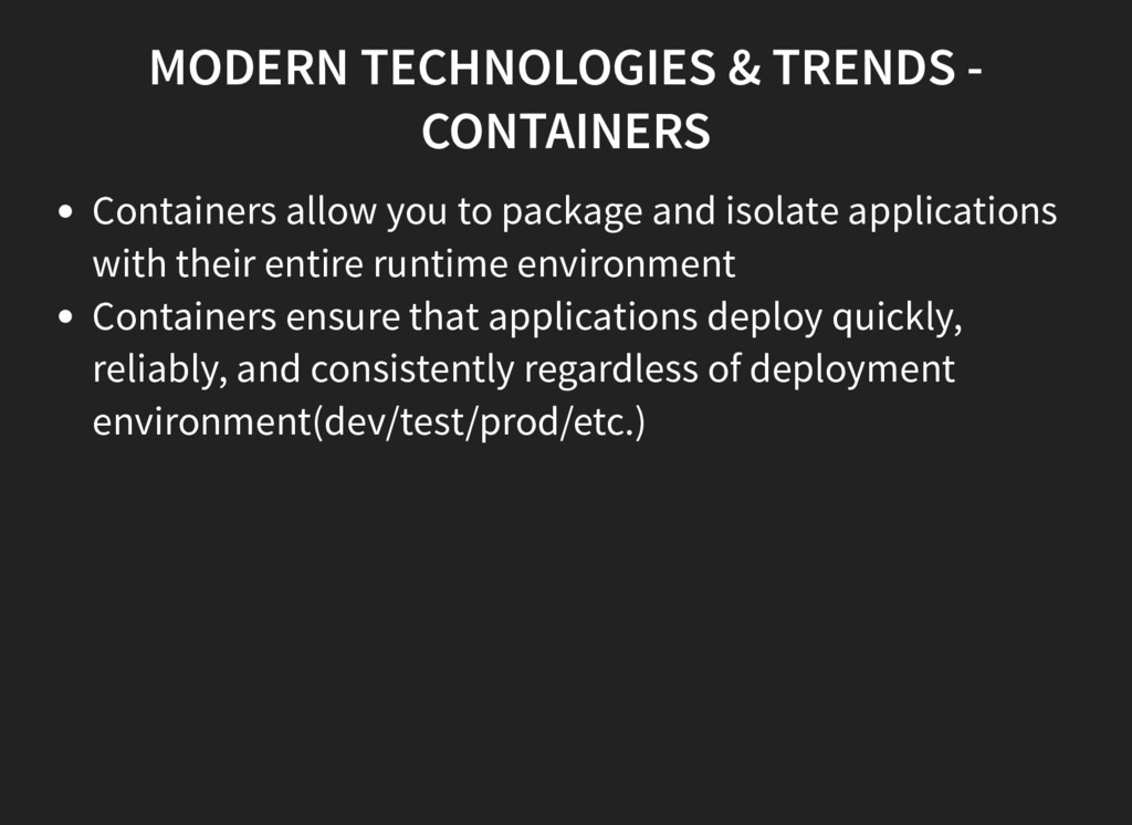 MODERN TECHNOLOGIES & TRENDS - CONTAINERS Conta...
