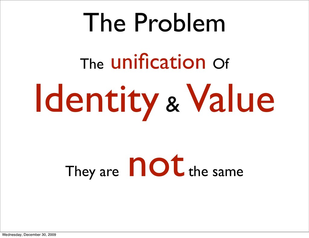The Problem The unification Of Identity & Value ...