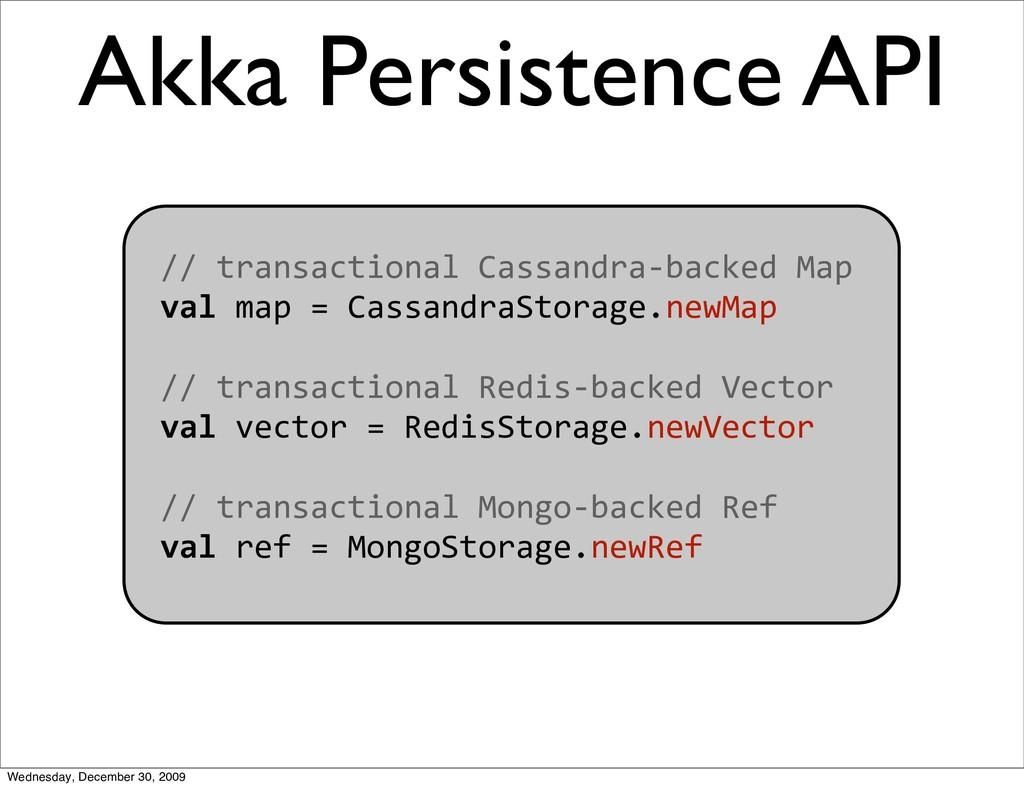 Akka Persistence API //transactionalCassandra...