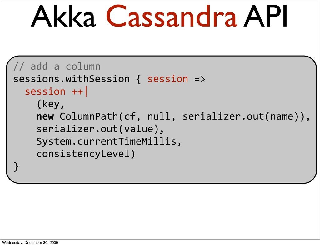 Akka Cassandra API //addacolumn sessions.wit...