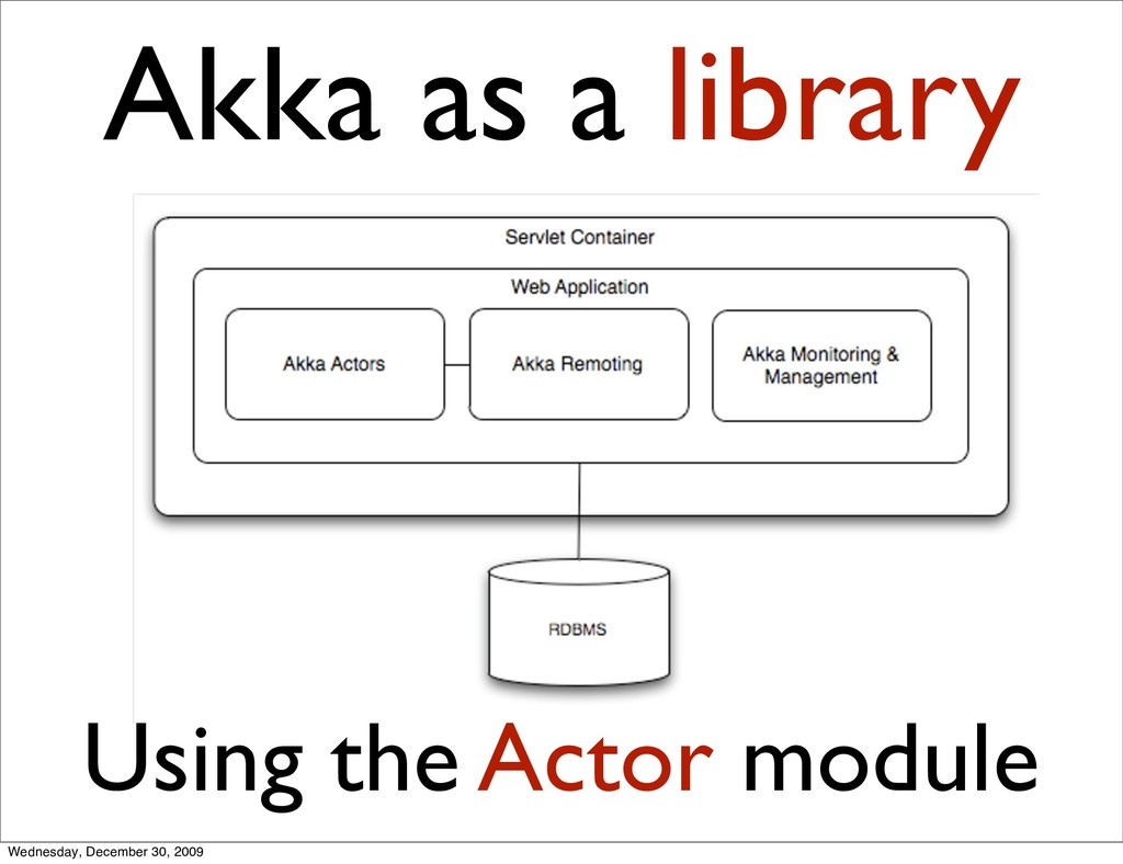 Akka as a library Using the Actor module Wednes...
