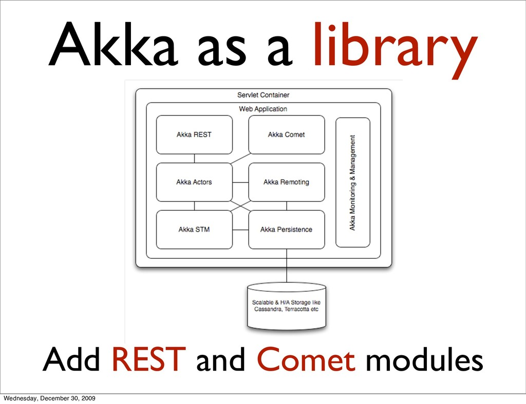 Akka as a library Add REST and Comet modules We...