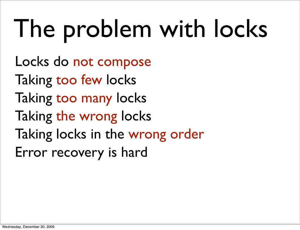 The problem with locks Locks do not compose Tak...