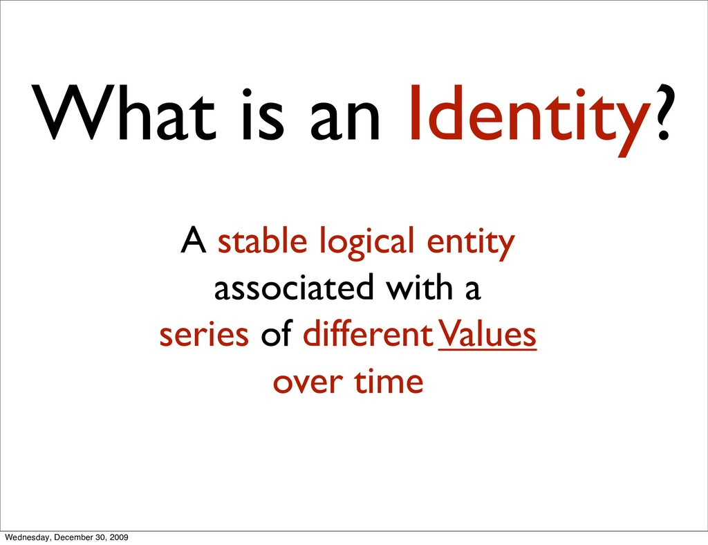 What is an Identity? A stable logical entity as...