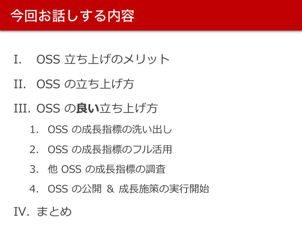 ࠓճ͓͢͠Δ༰ I. OSS ⽴ち上げのメリット II. OSS の⽴ち上げ⽅ III. ...