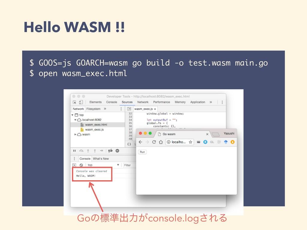 Hello WASM !! $ GOOS=js GOARCH=wasm go build -o...