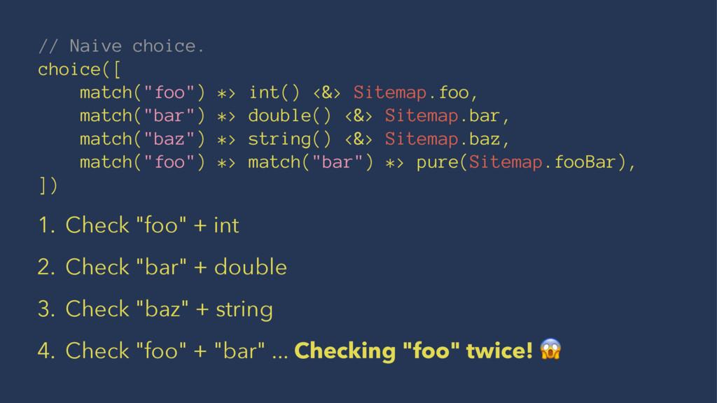 "// Naive choice. choice([ match(""foo"") *> int()..."