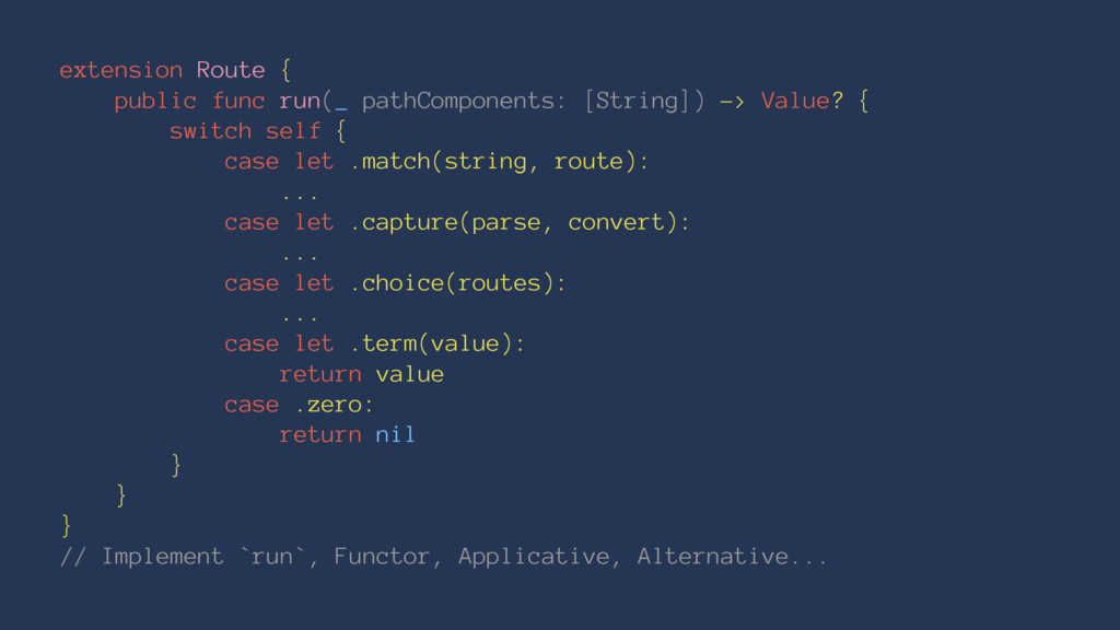extension Route { public func run(_ pathCompone...