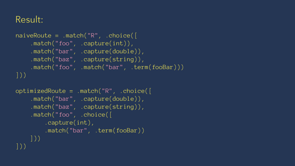 """Result: naiveRoute = .match(""""R"""", .choice([ .mat..."""