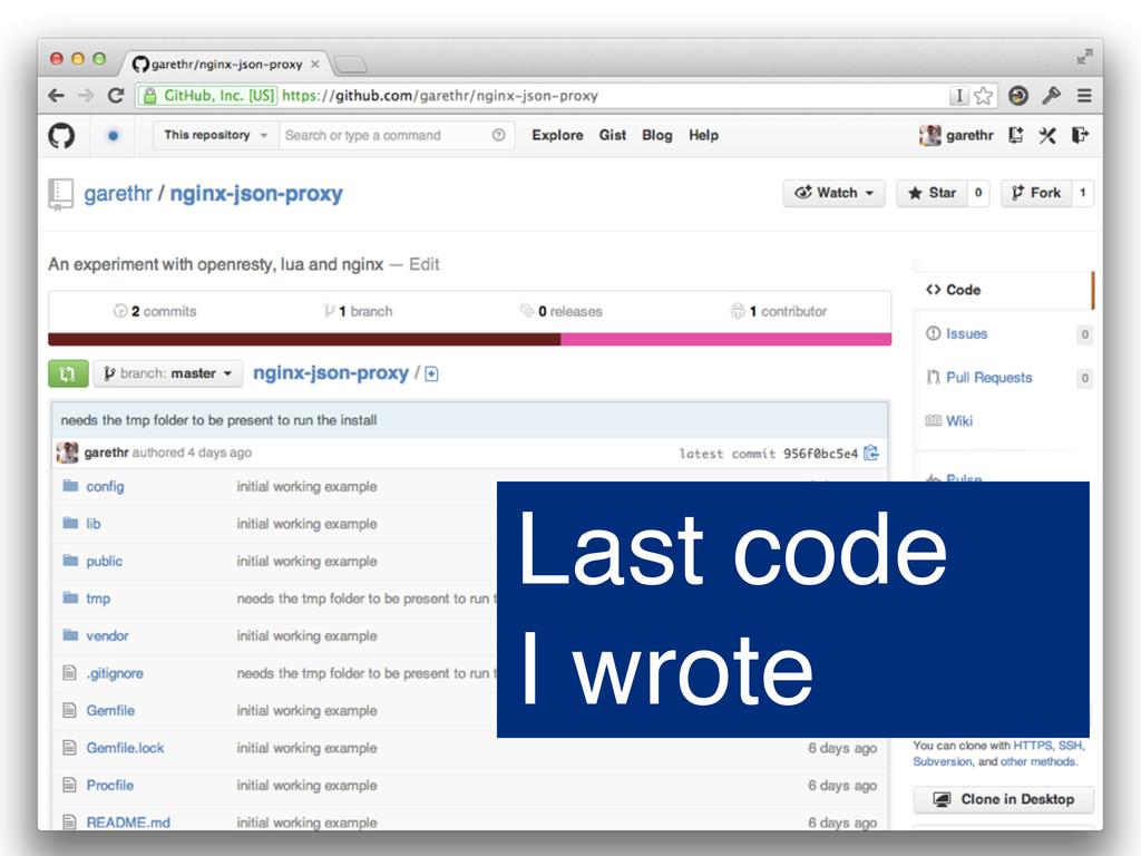 Last code I wrote