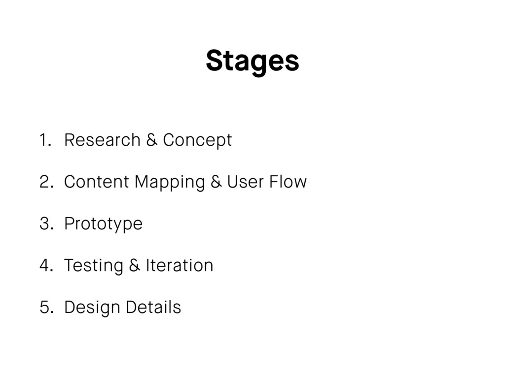 Stages 1. Research & Concept 2. Content Mapping...