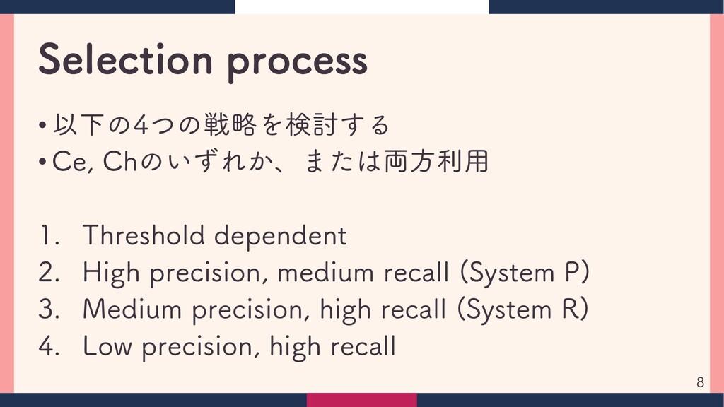 Selection process • 以下の4つの戦略を検討する • Ce, Chのいずれか...