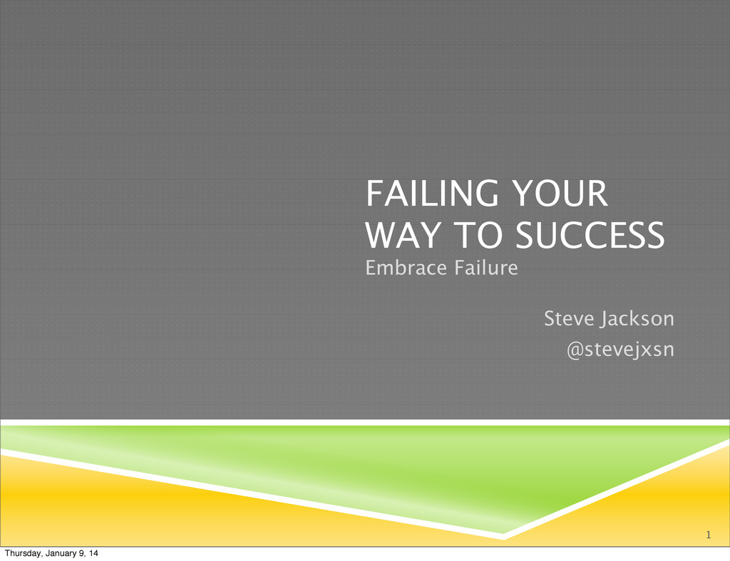 FAILING YOUR WAY TO SUCCESS Embrace Failure 1 S...