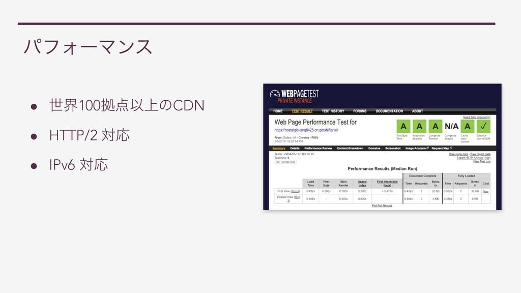 ύϑΥʔϚϯε ● ੈք100ڌҎ্ͷCDN ● HTTP/2 ରԠ ● IPv6 ରԠ