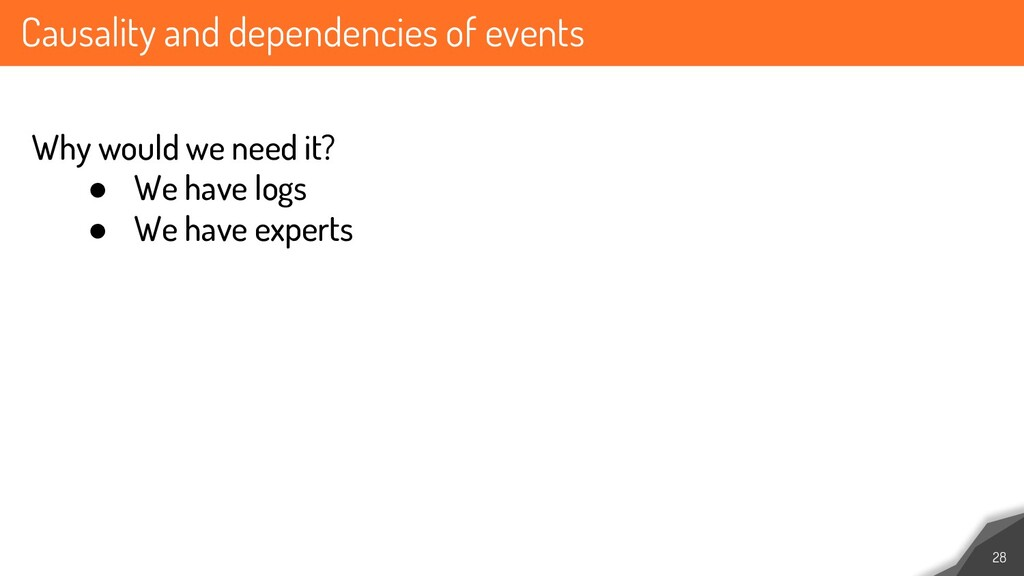 Causality and dependencies of events 28 Why wou...