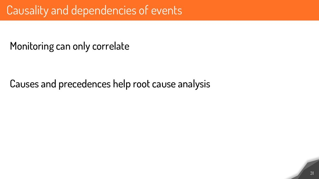 Causality and dependencies of events 31 Monitor...