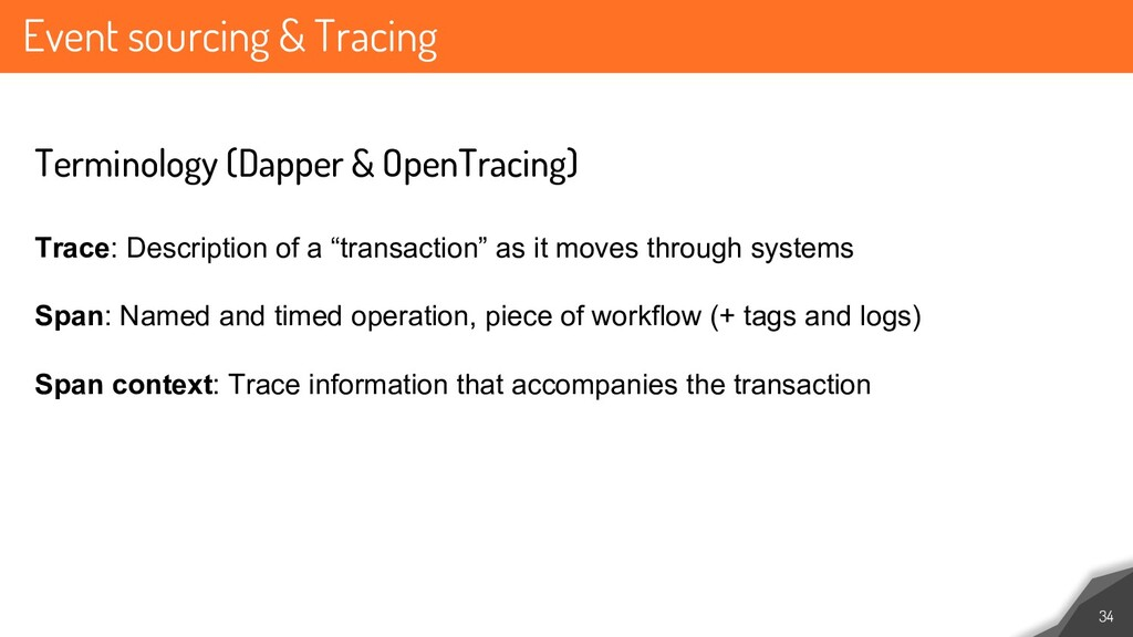 Event sourcing & Tracing 34 Terminology (Dapper...