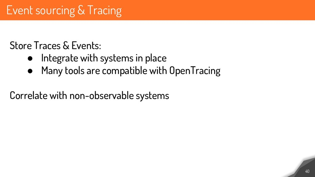 Event sourcing & Tracing 40 Store Traces & Even...