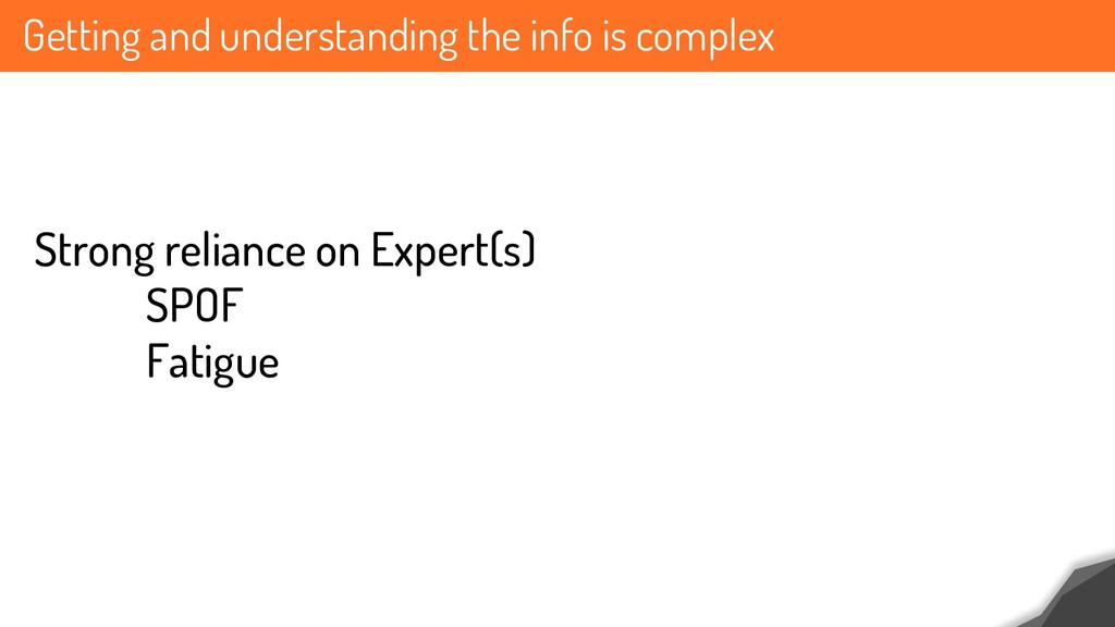 Getting and understanding the info is complex S...