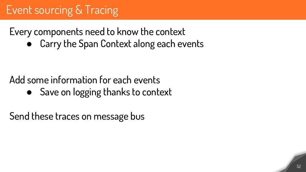 Event sourcing & Tracing 52 Every components ne...